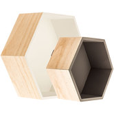 Gray & White Hexagonal Wall Shelf Set